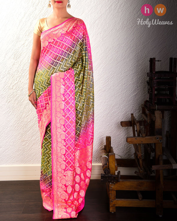 Gray-Pink Cutwork Brocade Handwoven Khaddi Georgette Saree with 2-color Bandhej- HolyWeaves