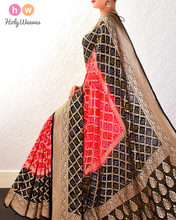 Red-Black Cutwork Brocade Handwoven Khaddi Georgette Saree with 2-color Bandhej- HolyWeaves
