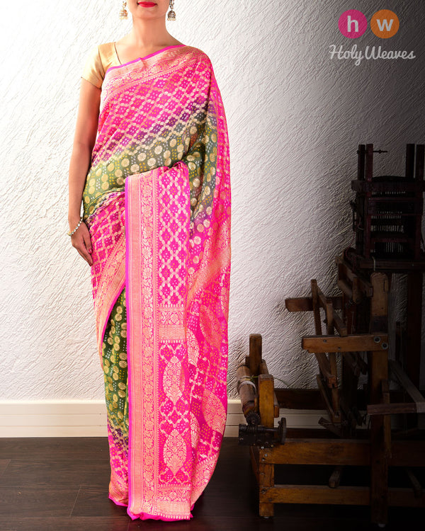 Pink-Green Cutwork Brocade Handwoven Khaddi Georgette Saree with 2-color Bandhej- HolyWeaves