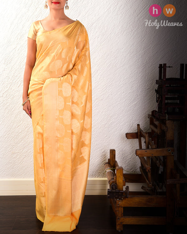 Marigold Yellow Banarasi Cutwork Brocade Woven Cotton Silk Saree- HolyWeaves