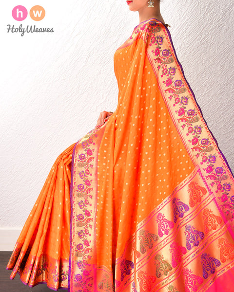 Orange Banarasi Cutwork Brocade Woven Art Silk Saree with Paithani Border & Pallu