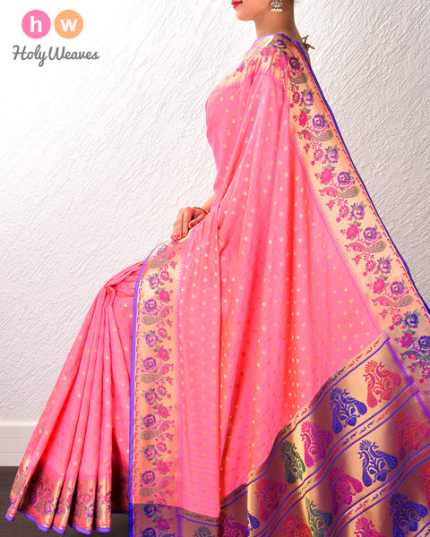 Peach Banarasi Cutwork Brocade Woven Art Silk Saree with Paithani Border & Pallu