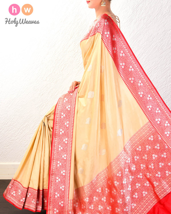 Tan Beige Banarasi Alfi Sona-Rupa Kadhuan Brocade Handwoven Katan Silk Saree with Kadiyal Brocade Border- HolyWeaves