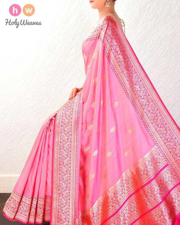 Light Coral Pink Banarasi Kadhuan Brocade Handwoven Katan Silk Saree with Kadiyal Brocade Border- HolyWeaves