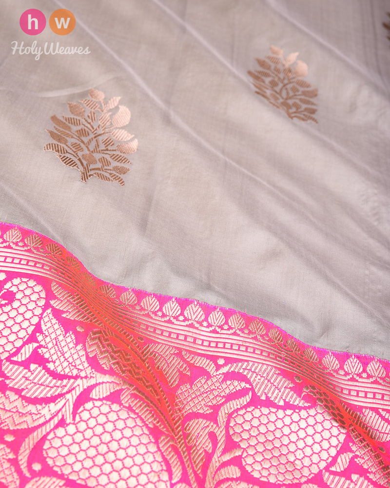Stone Gray Banarasi Kadhuan Brocade Handwoven Katan Silk Saree with Kadiyal Brocade Border - HolyWeaves