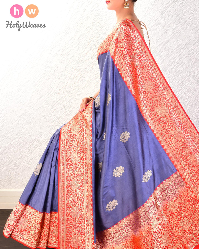 Marengo Gray Banarasi Kadhuan Brocade Handwoven Katan Silk Saree with Kadiyal Brocade Border- HolyWeaves