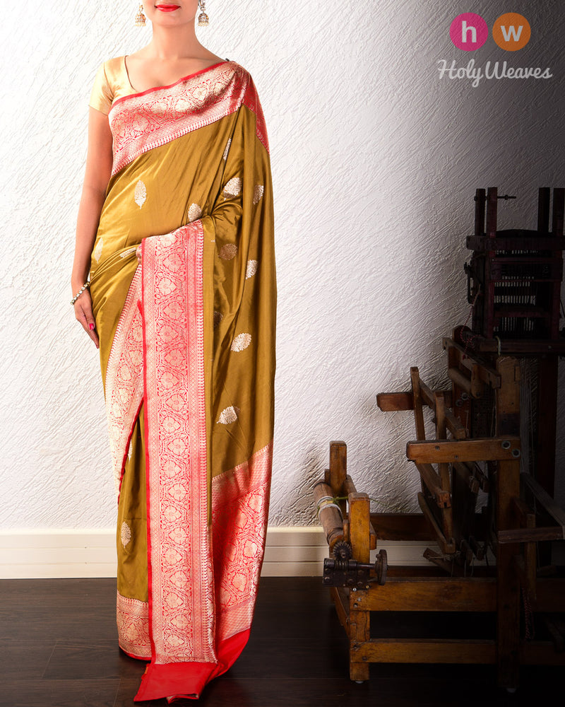 Dijon Yellow Banarasi Kadhuan Brocade Handwoven Katan Silk Saree with Kadiyal Brocade Border- HolyWeaves