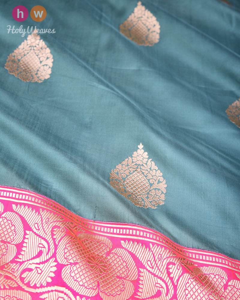 Gray Green Banarasi Kadhuan Brocade Handwoven Katan Silk Saree with Kadiyal Brocade Border- HolyWeaves