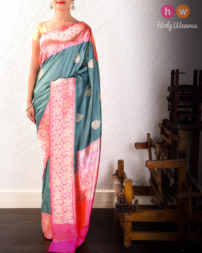 Gray Green Banarasi Kadhuan Brocade Handwoven Katan Silk Saree with Kadiyal Brocade Border - HolyWeaves