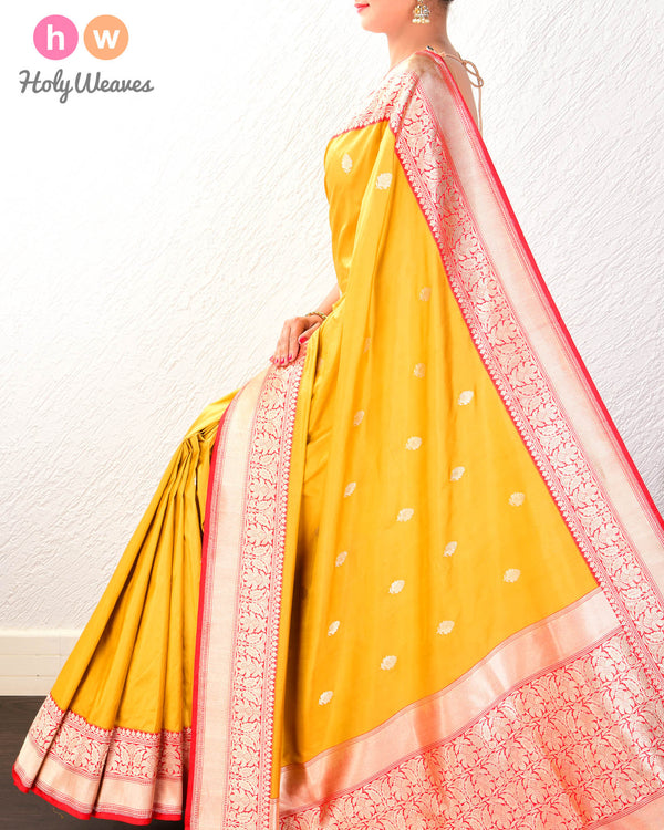 Goldenrod Banarasi Kadhuan Brocade Handwoven Katan Silk Saree with Kadiyal Brocade Border - HolyWeaves