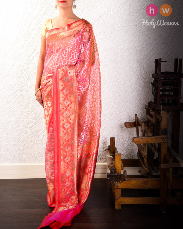 Salmon Pink Banarasi Cutwork Brocade Handwoven Kora Silk Saree with Kadiyal Brocade Border- HolyWeaves