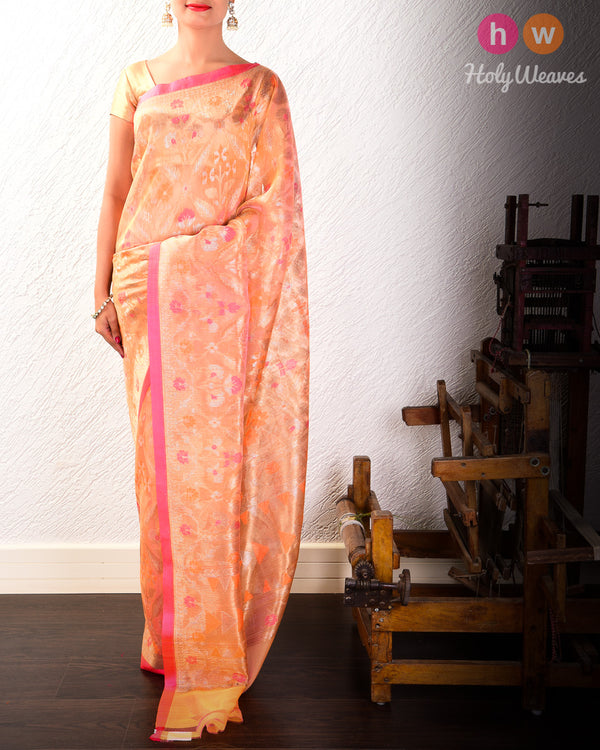 Apricot Peach Banarasi Cutwork Brocade Handwoven Kora Silk Saree- HolyWeaves