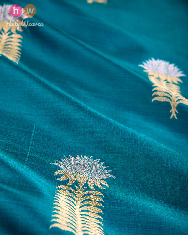 Midnight Green Banarasi Alfi Sona-Rupa Kadhuan Brocade Handwoven Katan Silk Fabric- HolyWeaves