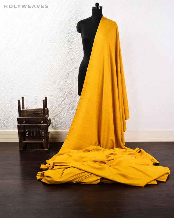 Mustard Yellow Banarasi Tanchoi Handwoven Silk-wool Fabric - HolyWeaves