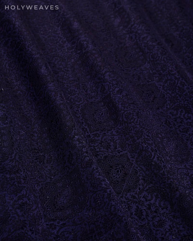 Navy Blue Banarasi Tanchoi Handwoven Silk-wool Fabric - HolyWeaves
