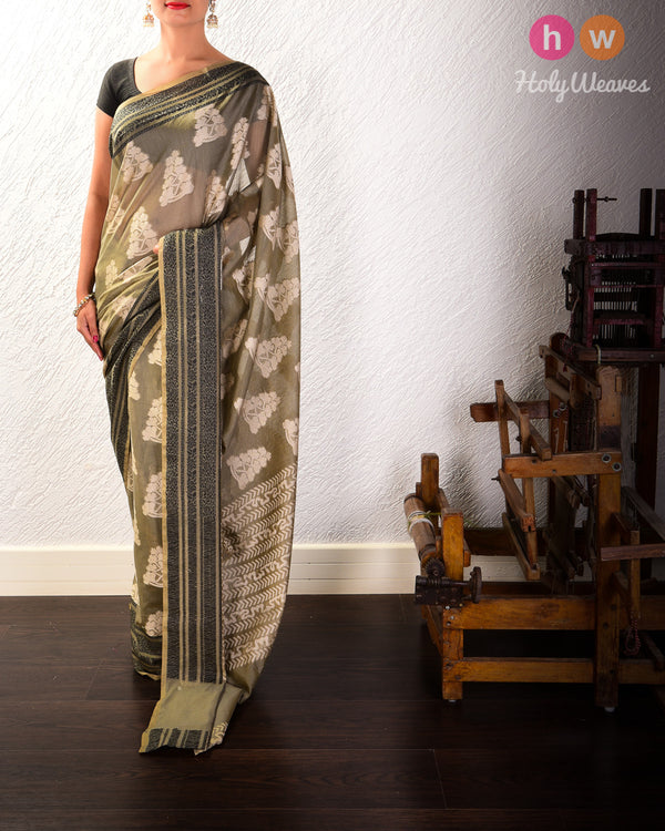 Artichoke Green Resham Buta Cutwork Brocade Woven Cotton Silk Saree with Black Tanchoi Border- HolyWeaves