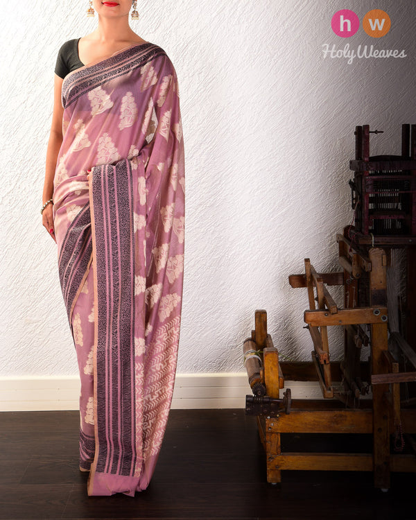 English Lavender Resham Buta Cutwork Brocade Woven Cotton Silk Saree with Black Tanchoi Border- HolyWeaves