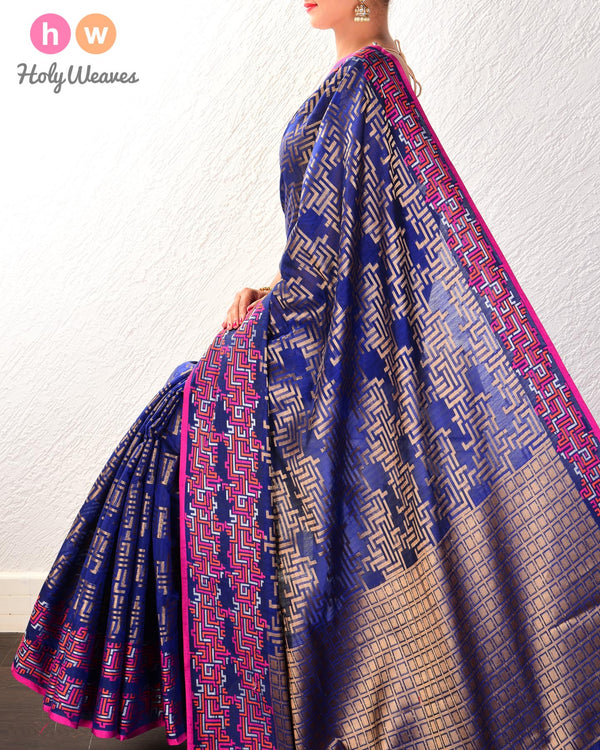 Royal Blue Labyrinth Cutwork Brocade Woven Cotton Silk Saree- HolyWeaves