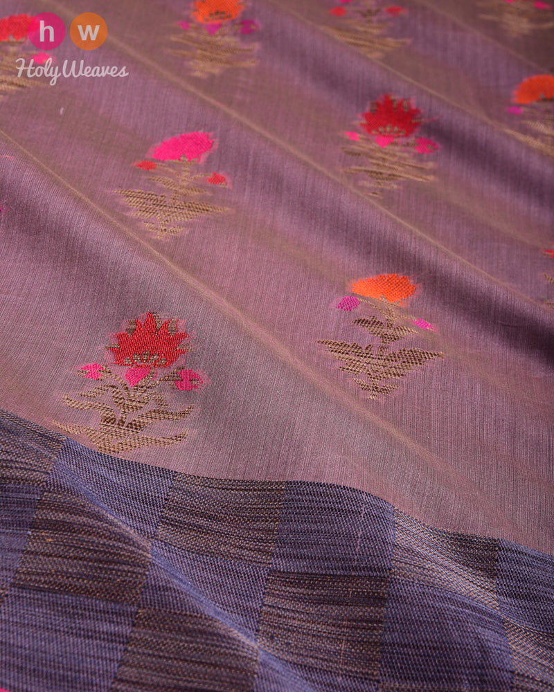 English Lavender Banarasi Meena Buta Cutwork Brocade Woven Cotton Silk Saree- HolyWeaves