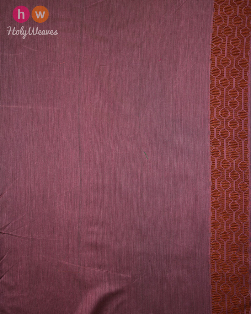 Rosy Brown Banarasi Resham Buta Cutwork Brocade Woven Cotton Silk Saree with Tilfi Bel Border - HolyWeaves