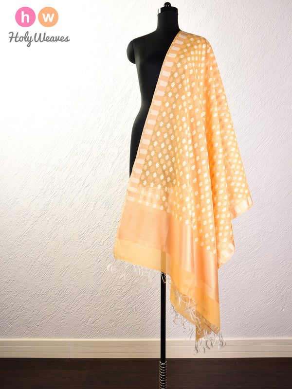 Mellow Yellow Banarasi Alfi Buti Cutwork Brocade Handwoven Cotton Silk Dupatta - HolyWeaves