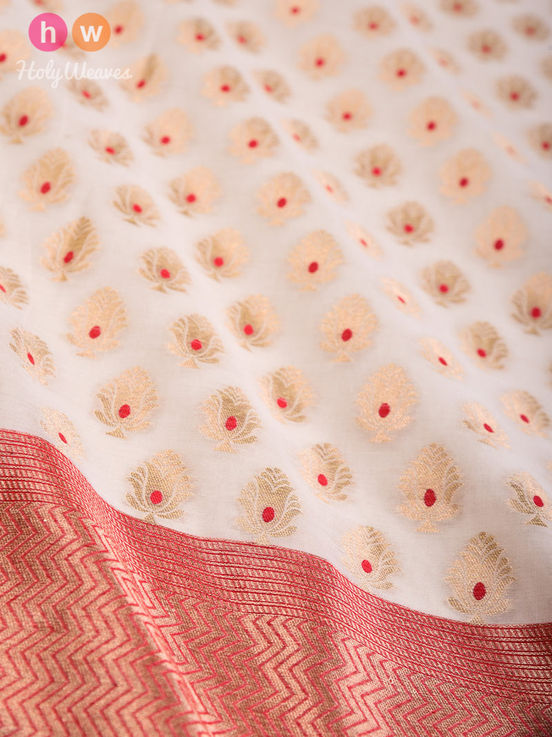 Cream Banarasi Meena Buti Cutwork Brocade Handwoven Cotton Silk Dupatta- HolyWeaves
