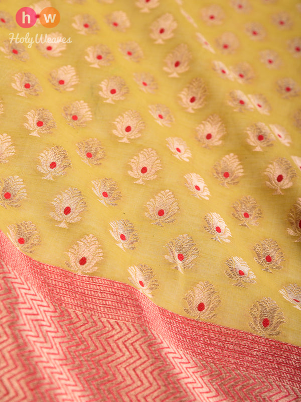 Green Banarasi Meena Buti Cutwork Brocade Handwoven Cotton Silk Dupatta - HolyWeaves