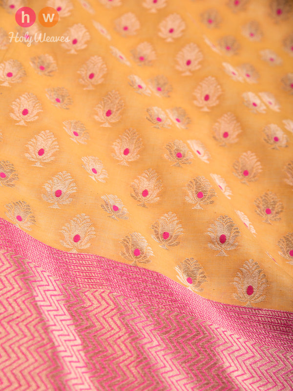 Yellow Banarasi Meena Buti Cutwork Brocade Handwoven Cotton Silk Dupatta - HolyWeaves