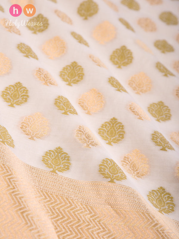 Cream Banarasi Alfi Buti Cutwork Brocade Handwoven Cotton Silk Dupatta - HolyWeaves