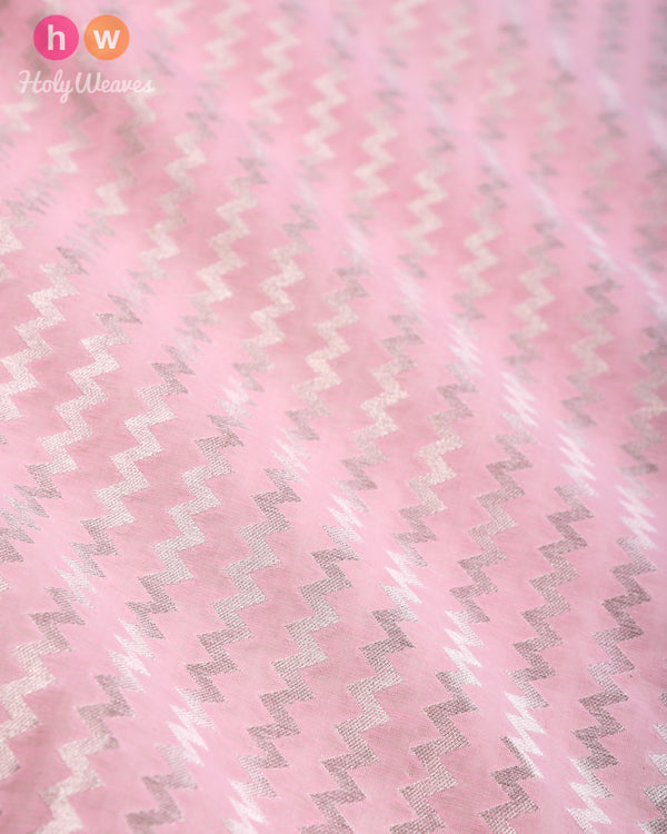 Baby Pink Banarasi Roopa Zari Cutwork Brocade Handwoven Cotton Silk Fabric- HolyWeaves