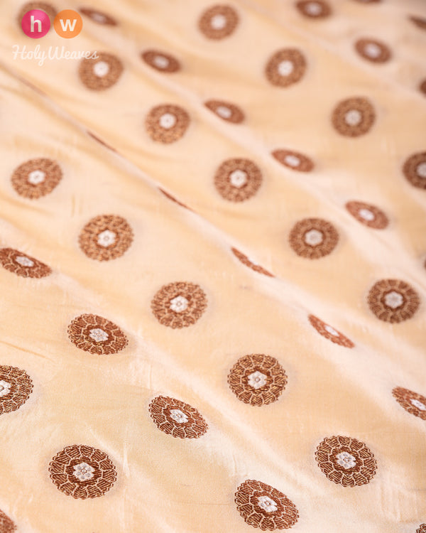Beige Banarasi Alfi Antique & Silver Zari Cutwork Brocade Handwoven Dupion Silk Fabric- HolyWeaves