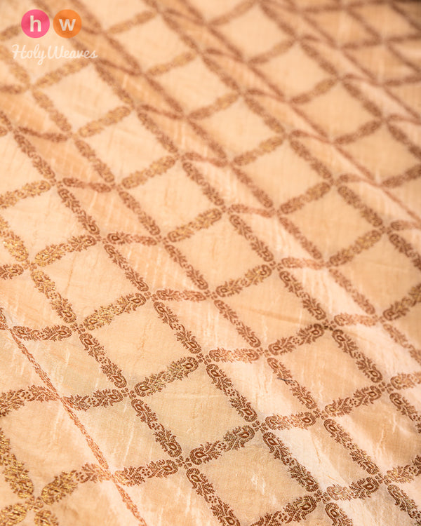 Beige Banarasi Antique Zari Cutwork Brocade Handwoven Dupion Silk Fabric- HolyWeaves