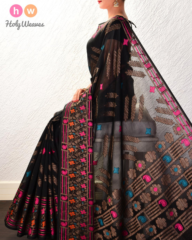 Black Banarasi Teen Patti Cutwork Brocade Woven Cotton Silk Saree with Tilfi Border- HolyWeaves