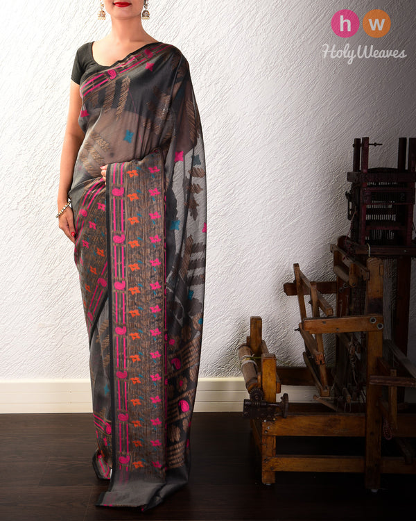 Nickel Gray Banarasi Teen Patti Cutwork Brocade Woven Cotton Silk Saree with Tilfi Border- HolyWeaves