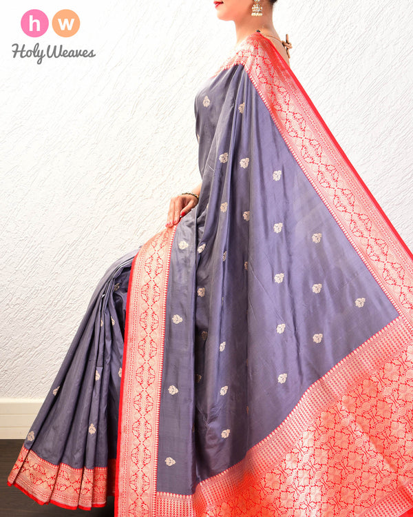 Gray Banarasi Buti Kadhuan Brocade Handwoven Katan Silk Saree with Red Kadiyal Border- HolyWeaves