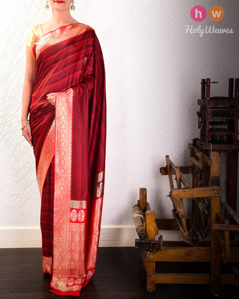Maroon Stripes Woven Art Silk Saree with Brocade Border- HolyWeaves