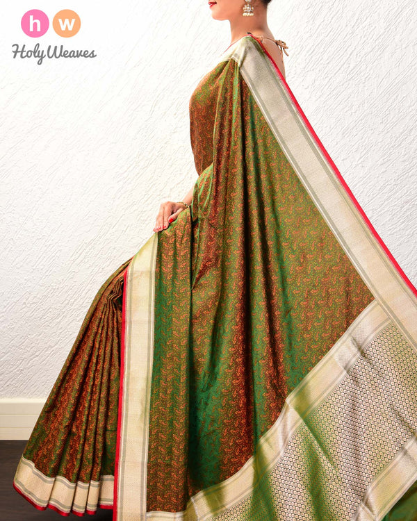 Forest Green Banarasi Tilfi Jamawar Handwoven Katan Silk Saree with Brocade Border- HolyWeaves