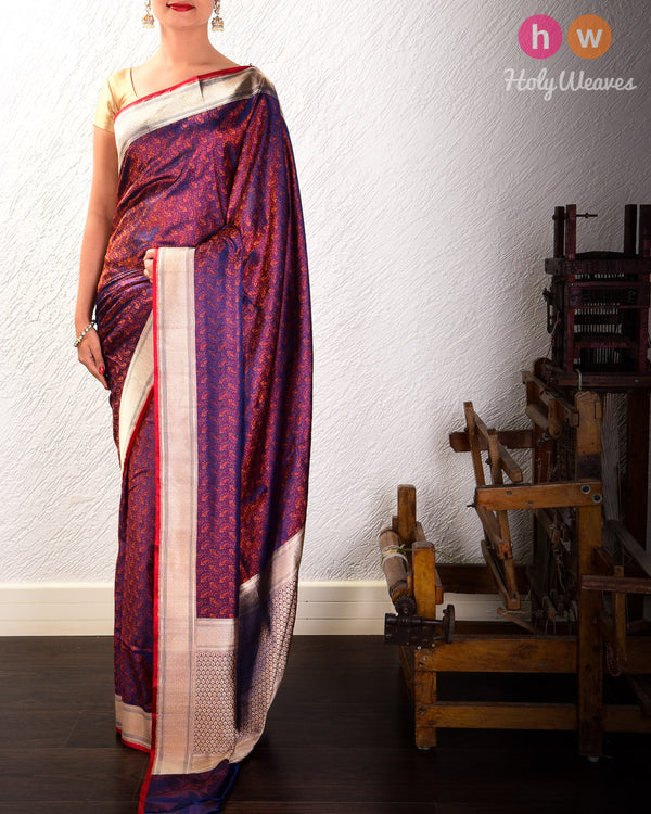 Purple Banarasi Tilfi Jamawar Handwoven Katan Silk Saree with Brocade Border- HolyWeaves