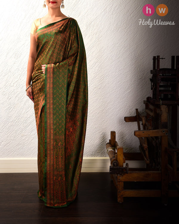 Bottle Green Banarasi Tilfi Jamawar Handwoven Katan Silk Saree with Maheen Kairi Jaal