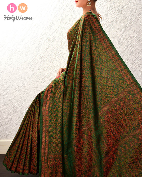 Bottle Green Banarasi Tilfi Jamawar Handwoven Katan Silk Saree with Maheen Kairi Jaal - HolyWeaves