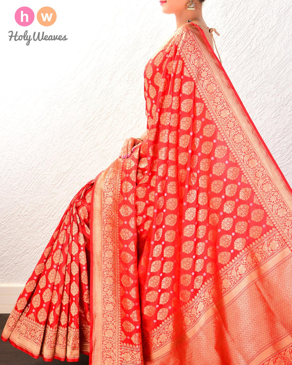 Red Banarasi Alfi Sona-Rupa Cutwork Brocade Handwoven Katan Silk Saree- HolyWeaves