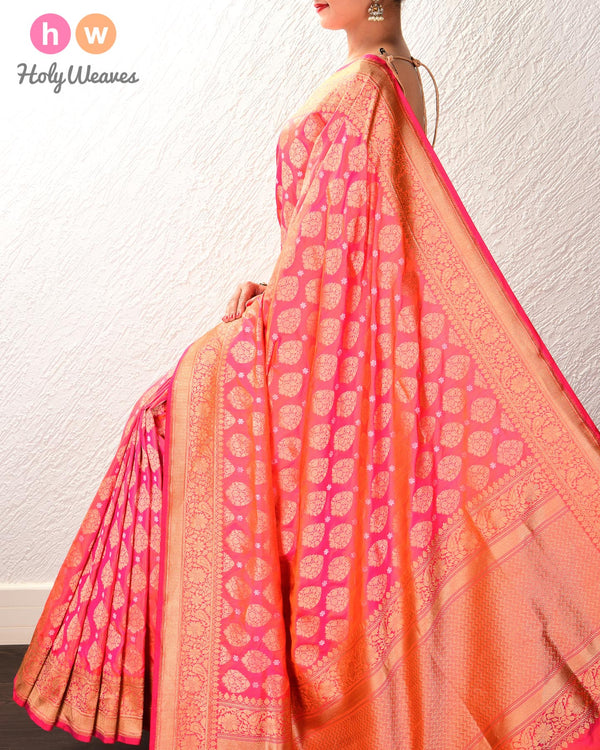 Peach Banarasi Sona-Rupa Buti Alfi Cutwork Brocade Handwoven Katan Silk Saree with Brocade Blouse Piece