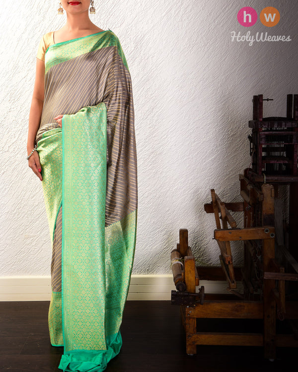 Gray Banarasi Cutwork Brocade Handwoven Katan Silk Saree with Green Kadiyal Border- HolyWeaves