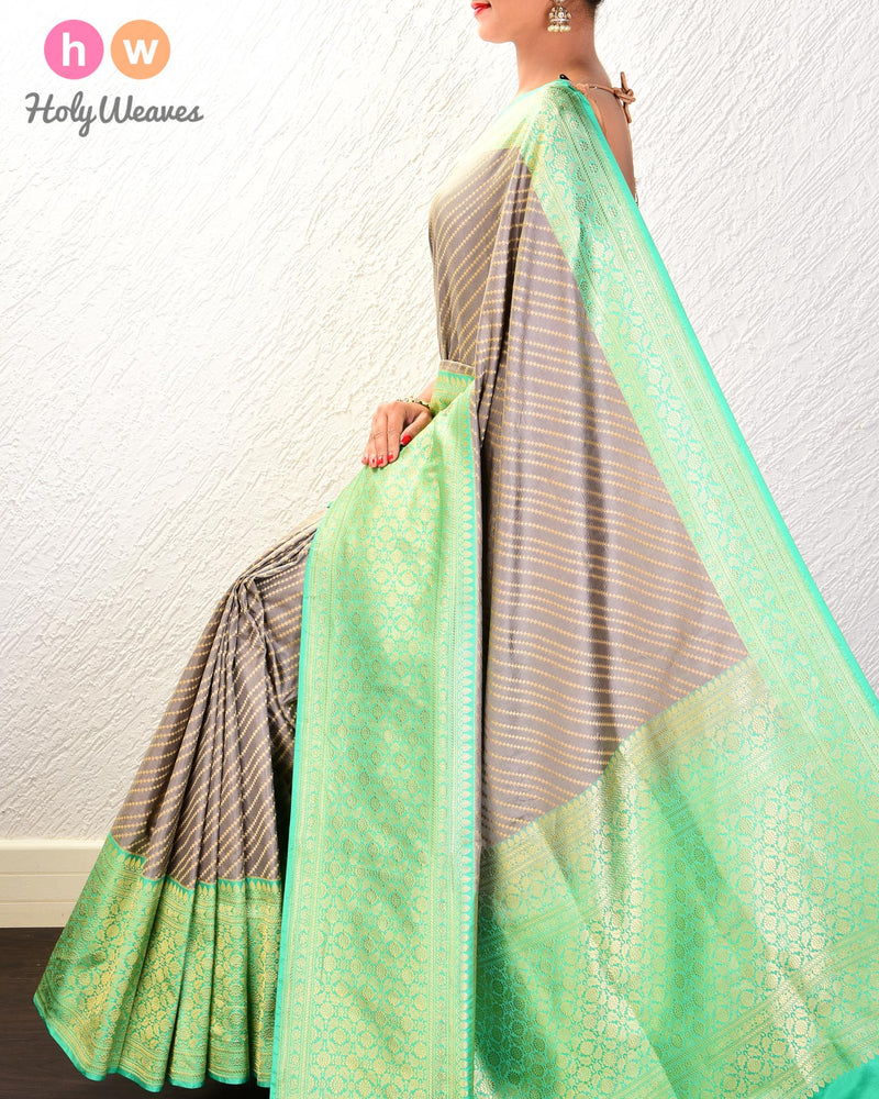 Gray Banarasi Cutwork Brocade Handwoven Katan Silk Saree with Green Kadiyal Border - HolyWeaves