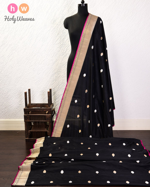 Black Banarasi Buti Alfi Sona-Rupa Kadhuan Brocade Handwoven Katan Silk Fabric with Brocade Border- HolyWeaves