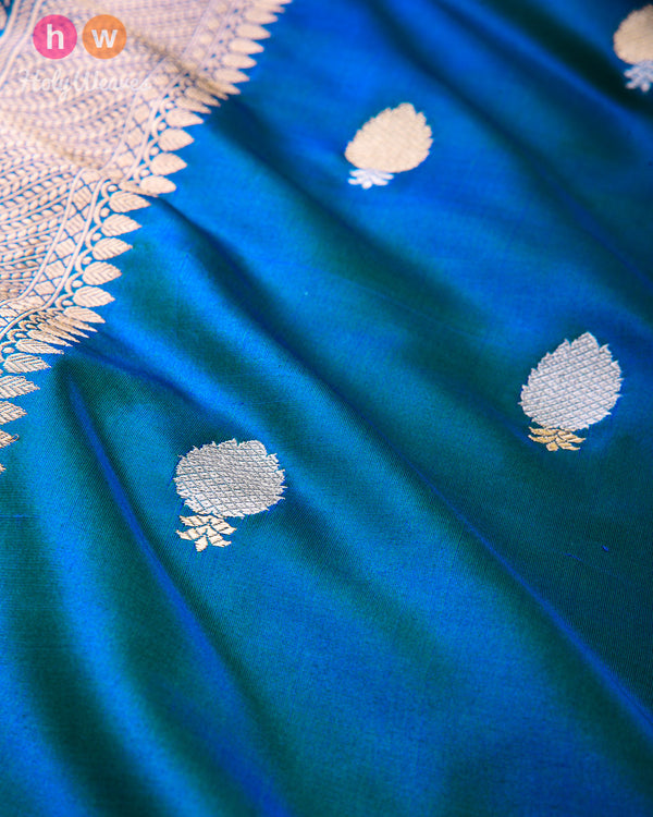 Blue-Green Banarasi Buti Alfi Sona-Rupa Kadhuan Brocade Handwoven Katan Silk Fabric with Brocade Border - HolyWeaves