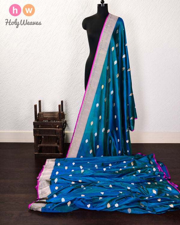 Blue-Green Banarasi Buti Alfi Sona-Rupa Kadhuan Brocade Handwoven Katan Silk Fabric with Brocade Border