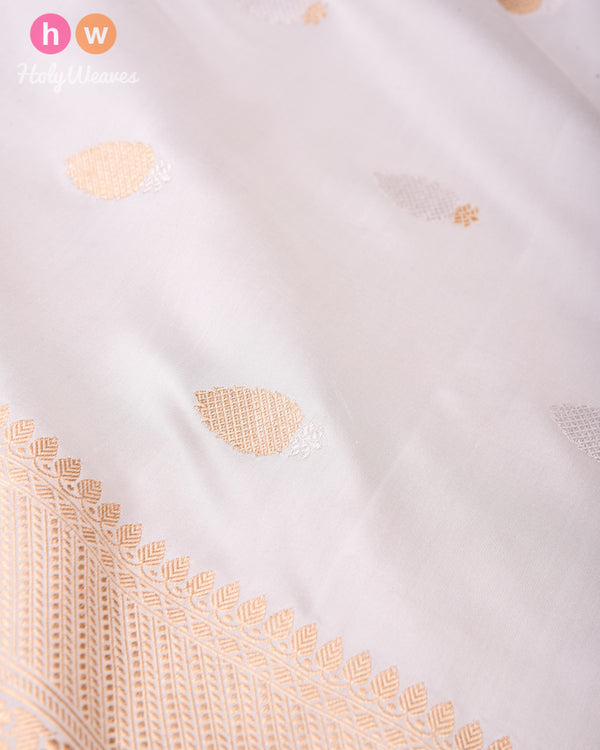 White Banarasi Buti Alfi Sona-Rupa Kadhuan Brocade Handwoven Katan Silk Fabric with Brocade Border