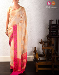 Almond White Cutwork Brocade Woven Cotton Silk Saree with Contrast Pink Border Pallu- HolyWeaves