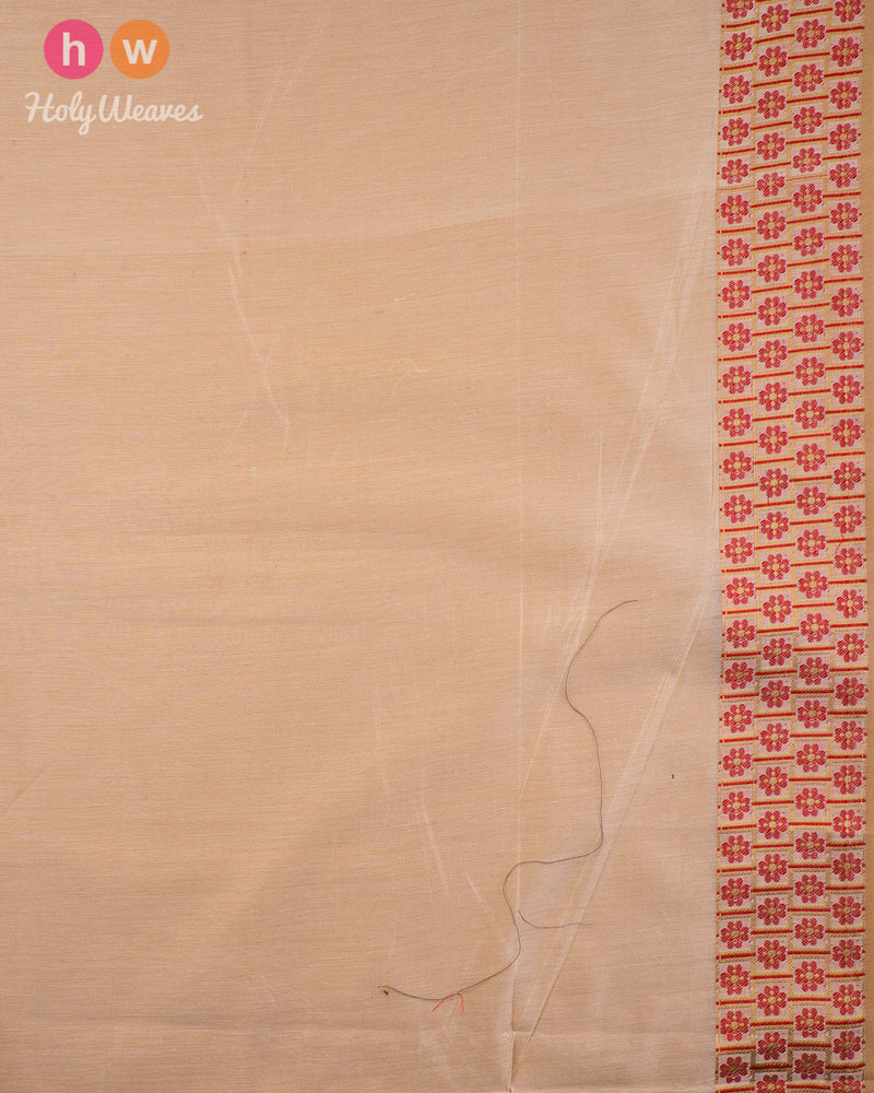 Beige-Red Cutwork Brocade Woven Cotton Silk Saree - HolyWeaves